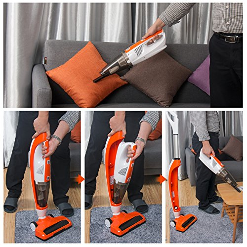 Upright Vacuum,3-in-1 Upright Stick Vacuum Cleaner with Powerful Suction, Rechargeable Vacuum Cleaner, Sweeper and Mopping with Water Tank (Orange)