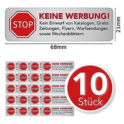 Keine Werbung Aufkleber - Schild – Folie - Sticker ( STOP Bitte keine Kostenlose Zeitung, Reklame, Flyer, Handzettel, Wurfsendungen, Wochenblätter, Werbung einwerfen, etc. ) für den Briefkasten in Edelstahl-Optik – 10 Stück