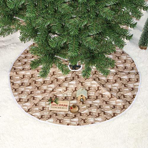 ToDIDAF Weihnachtsdeko Elch bedruckter Weihnachtsbaumrock Weihnachtsbaumschmuck Dekorative Verzierungen für Festival Hochzeit Geburtstag Party Zuhause Fußboden Dekor (L: 100cm)