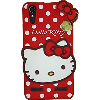 Cute Hello Kitty Silicone With Pendant Back Case Cover For LENOVO A6000