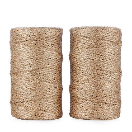 Jute Bindfäden 656Füße 3-schichtige natur Arts Crafts Jute Seil Langlebig Verpackung Saite für Garten-Anwendungen (2x 328Füße) (Mason Bindfäden)