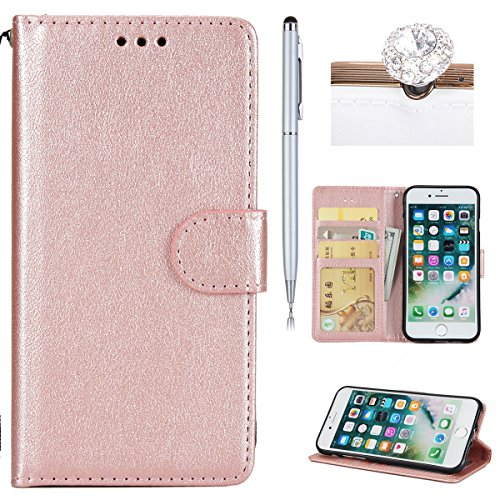 iPhone 7 Coque Dragonne Portefeuille PU Cuir Etui,iPhone 7 Coque Ultra Fine,iPhone 7 Etui Cuir Folio Housse PU Leather Case Wallet Flip Protective Cover Etui [PU Cuir et TPU Silicone Inner Case] Porte Rose Or