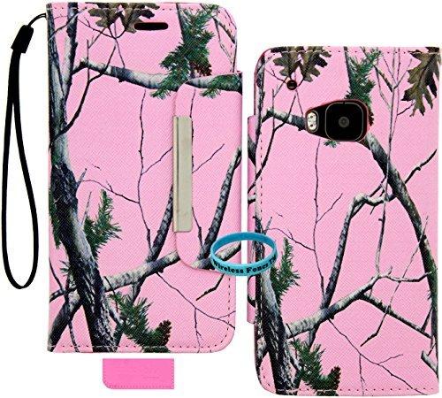 Wireless Fones TM Pink Camo Mossy Leaf Branch PU Leder Wallet Case für HTC One M9(2015) Htc Pink Faceplates