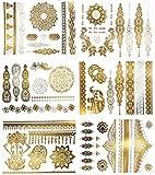 Premium Henna Tattoos mit Metallic-Glanz - 75+ Mandala Klebe-Tattoos in Gold und Silber – Temporäre Tattoos in Schimmeroptik – Blumen, Elefanten, Armbänder & mehr (Jasmine Kollektion)