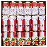 Caspari 12.5-inch Christmas Crackers, Box of 6, Santa