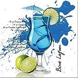 artissimo, Glasbild, 20x20cm, AG1346A, Blue Lagoon, Küchenbild, Cocktail, Bild aus Glas, moderne Wanddekoration aus Glas, Wandbild Wohnzimmer modern