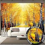great-art Fototapete Goldener Herbst - 336 x 238 cm 8-teiliges Wandbild Baum Allee Tapete Wandtapete