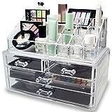 Flipco Jewelry and Cosmetic Storage 2 Piece 4 Drawer Acrylic Makeup Organizer