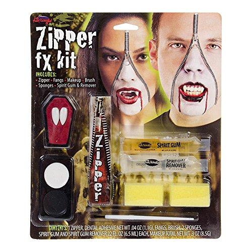 Vampir Halloween Makeup Set Reissverschluss mit Zähnen bunt (Halloween Make Up Zähne)