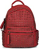 styleBREAKER Rucksack Handtasche mit Nieten, Reißverschluss, Tasche, Damen 02012226, Farbe:Rot