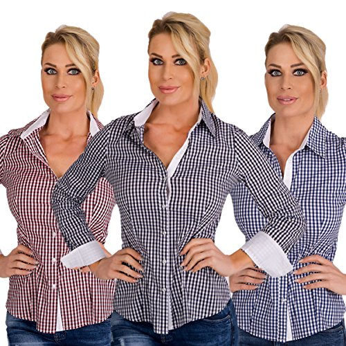 5823 Fashion4Young Damen Langarm Karo Bluse Damenbluse karierte Hemdbluse Business Karo-Bluse rot-weiss