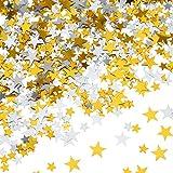 Hestya Confettis Étoile Confetti de Table Étoile Briller Étoiles Métalliques pour Décorations de Fête de Mariage (Or Argent 60g, 10mm and 6mm)