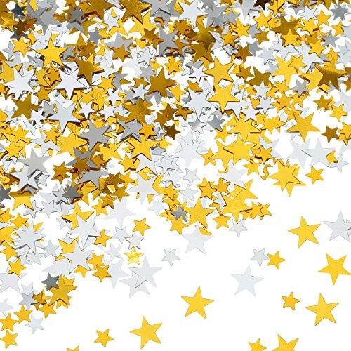 Hestya 60 g Sterne Konfetti Gold Silber Tisch Konfetti Metallfolie Sterne für Party Hochzeit Fest Dekorationen, Sortierte Größe (Sterne Gold-konfetti)