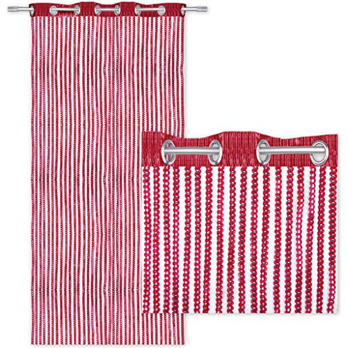 Tenda a fili effetto lurex, per porta, con occhielli, decorazione alla moda, poliestere, rot - bordeaux, 140 x 250 cm