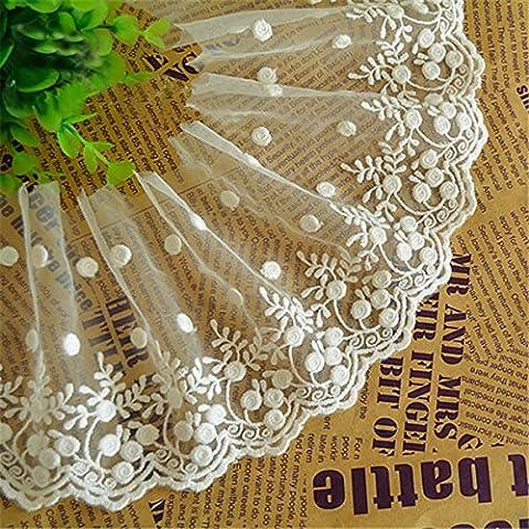 Elfenbeinfarben 3Meter Retro Baumwolle klein Blume bestickt Mesh Spitzenbesatz Kleid Spitze Craft Spitze Halsband Spitze 43/10,2cm (Spitzenbesatz Craft)