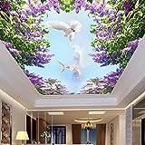Wongxl Blauer Himmel Mit Weißen Wolken In Der Himmel Decke Tapete 3D Wohnzimmer Schlafzimmer Wand Kunst Hotel Die Decke Wallpaper 3D Tapete Hintergrundbild Fresko Wandmalerei Wallpaper Mural 150cmX100cm