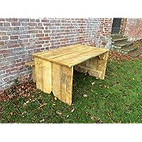 Sedie da giardino, stile rustico, in legno, da tavolo, 6