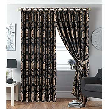 New Luxury Pair Eyelet Fully Lined Ring Top Jacquard Pair Curtains