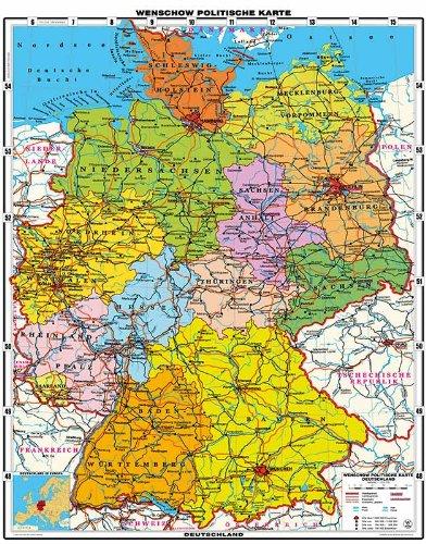 XXL 1,95 Meter - Original handgezeichnete Deutschland Karte politisch - laminiert