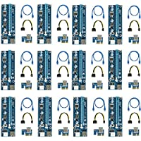 easyDecor (12 Pack) PCIe 6-Pin 1X to 16X Powered Riser Adapter Card 164P with 6 Pin PCI-E to SATA Power Cable, 60cm USB 3.0 Cable Mining Dedicated Graphics Card (Blue)