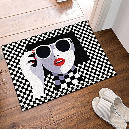 Liuzhis Home Decoration Bath Rugs, The Beauty on The Checkerboard, Skidproof Floor Entryways Indoor Front Door Mat 15.7W*23.6L inch (Slip Checkerboard)