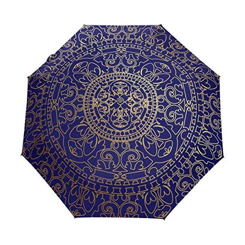 DEZIRO Mandala Hippie Oriental Azul y Dorado, Tres Pliegues al Aire Libre, Paraguas, Auto Abierto, Resistente al Agua