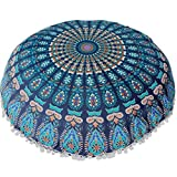 SMILEQ Große Mandala-Boden Kissen Runde Bohemian Meditation Kissenbezug Ottoman Hocker (Blau)