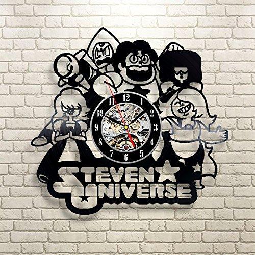 Meet Beauty Steven Universe Wanduhr aus Vinyl, mit Zitaten, handgefertigt, zum Aufhängen, für Kinderzimmer, Innenraum, Dekoration, Wandbild, 30 x 30 cm, Schwarz