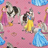 Fabulous Fabrics Disney Prinzessinnen & Pferde – pink —