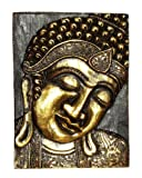 Buddha Gold Holzbild Feng Shui Maske Relief HBild03r