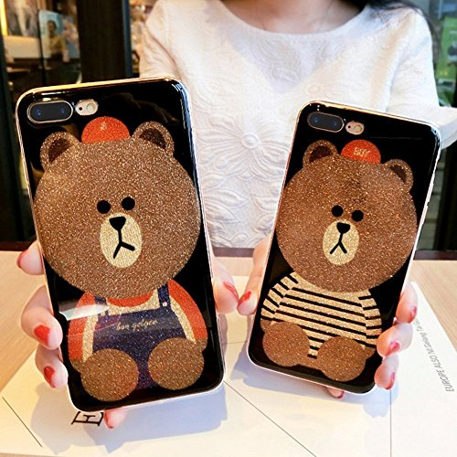 EUWLY Custodia per iPhone 6 Plus/iPhone 6s Plus, Bling Bling Glitter Crystal Protezione TPU Silicone Custodia per iPhone 6 Plus/iPhone 6s Plus Bling Sparkle Glitter Bello Cute Orso Cartoon Pattern TPU Orso Jeans