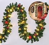 Benelando LED Weihnachtsgirlande mit Christbaumkugeln in naturnaher Tannenoptik für innen und außen