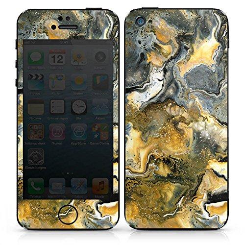 Apple iPhone 4s Case Skin Sticker aus Vinyl-Folie Aufkleber Marmor Style Grün Gelb DesignSkins® glänzend