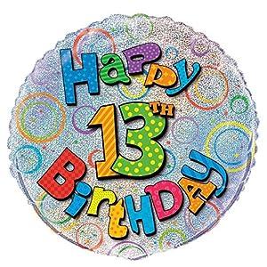 Unique Party Globo Foil cumpleaños Happy 13th Birthday, 45 cm (55509) , Modelos/colores Surtidos, 1 Unidad