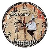 QIAOB Vintage Madera Creativo Reloj de Cuarzo montado en la Pared Simple Creativo Reloj de Pared-Sala de Estar/Dormitorio y Cocina,D