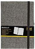 Idena 10503 Notizbuch FSC-Mix, 140 x 200 mm, kariert, Papier cremefarben, 240 Seiten, 80 g/m², Textil Hardcover in grau, 1 Stück