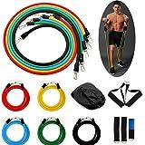 VOLUEX Bande di Resistenza Set, Fasce Elastiche Fitness 11PC con Fasce per Tubi, Maniglie Imbottite, Cinturini alla…