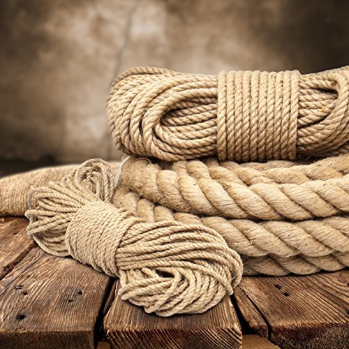 45m jute rope 6mm twisted 3-strand natural - different sizes and lengths Test