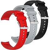 AFUNTA 3 STKS Siliconen Band Compatibel Galaxy Horloge Actieve, Zachte Siliconen Sport Horloge Band Vervanging Polsband met V