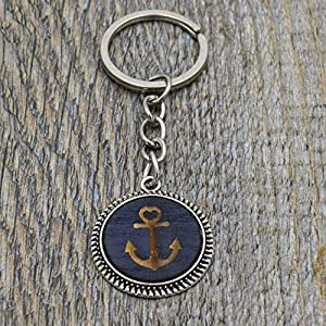 Schlüsselanhänger mit Anker aus Holz Farbe Schwarz Fassung 20mm Silber handmade Unikat