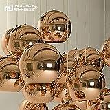 Injuicy Lighting Tom Dixon Lampada a sospensione, sfera in vetro dorato, attacco E27, per sala da pranzo, bar, hotel, corridoio, ristorante, colore rosa dorato, rose gold, Dia. 400mm 60.00 watts