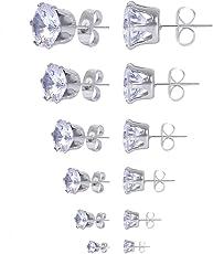 Dekool 6 Paar 3mm-8mm Ohrringe Silber / Set , Anti-Allergie 316L Edelstahl Ohrstecker , Elegante Mode Zirconia Stein Ohrringe Für Muttertag / Tag des Kindes (Round Shaped)