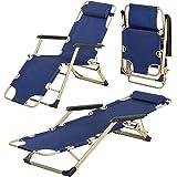 كرسي فناء وسرير محمول قابل للطي، كرسي خارجي مستلق مع دعم مسند راس قابل للتعديل مناسب للتخييم والنزهة وحمام السباحة والشاطئ (ا