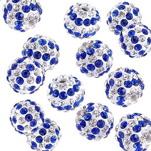 RUBYCA 20pcs Stripes Disco Ball Clay Beads 10MM Inlaid Czech Crystal fit Shamballa Jewelry Blue by RUBYCA