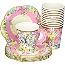 Talking Tables Truly Alice in Wonderland Paper Cup Set with Handle and Saucers for Tea Party, Weddings and Birthday Party, Mad Hatter Party, 3 Designs, 9oz (12 Cups and Saucers)