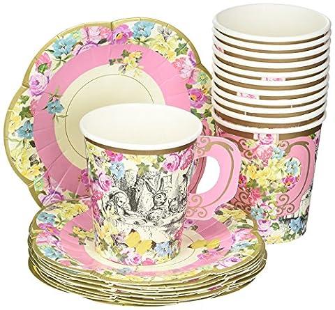 Talking Tables buntes Teeservice mit Alice im Wunderland, 12-er Pack (Blumen Pappteller)