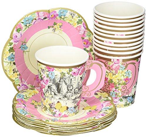 Alice in Wonderland; Teetassen und Untertassen mit für Teekränzchen, Hochzeiten und Geburtstagspartys, Verrückte Hutmacher-Party, 3 Designs, 250 ml (12 Tassen und Untertassen) (Miss Mad Hatter)