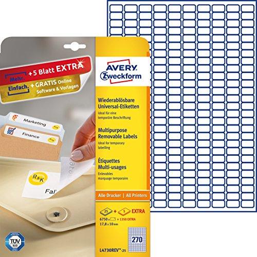 AVERY Zweckform L4730REV-25 Etiketten (A4, 6750 Plus 1350 Universal-Etiketten extra, abösbar, 17,8 x 10 mm, 30 Blatt) weiß