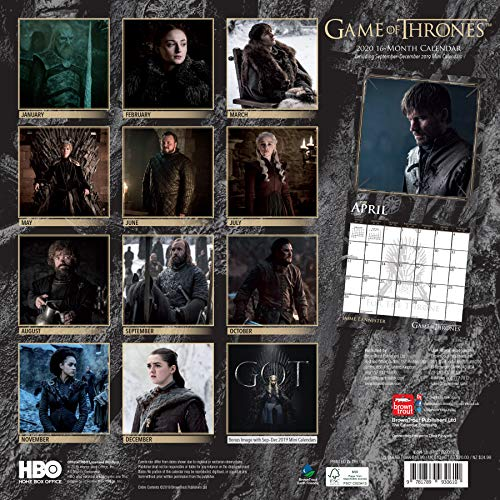 Calendrier Game of Thrones 2020 Square Wall