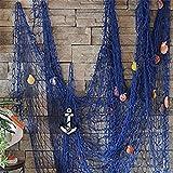 milopon Filet de pêche maritime décoration Pêche Filet avec coquillages décoratifs à suspendre Décoration Murale Arabesque pour maison décoration Party bleu